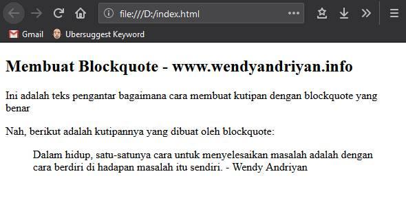 Hasil Kutipan Dari Blockquote