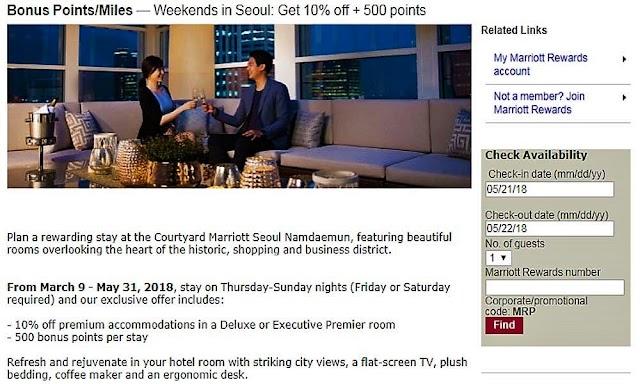 週末入住首爾南大門萬怡酒店(CourtyardMarriott Seoul Namdaemun)可享9折優惠及500積分