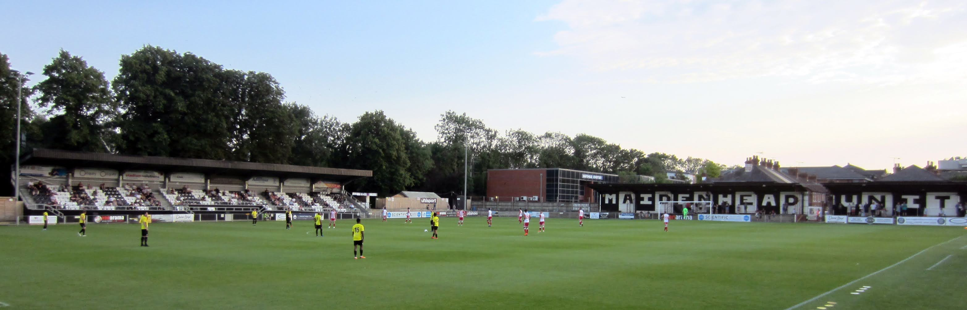 A view towards the main stand and Bell Road stand at York Road