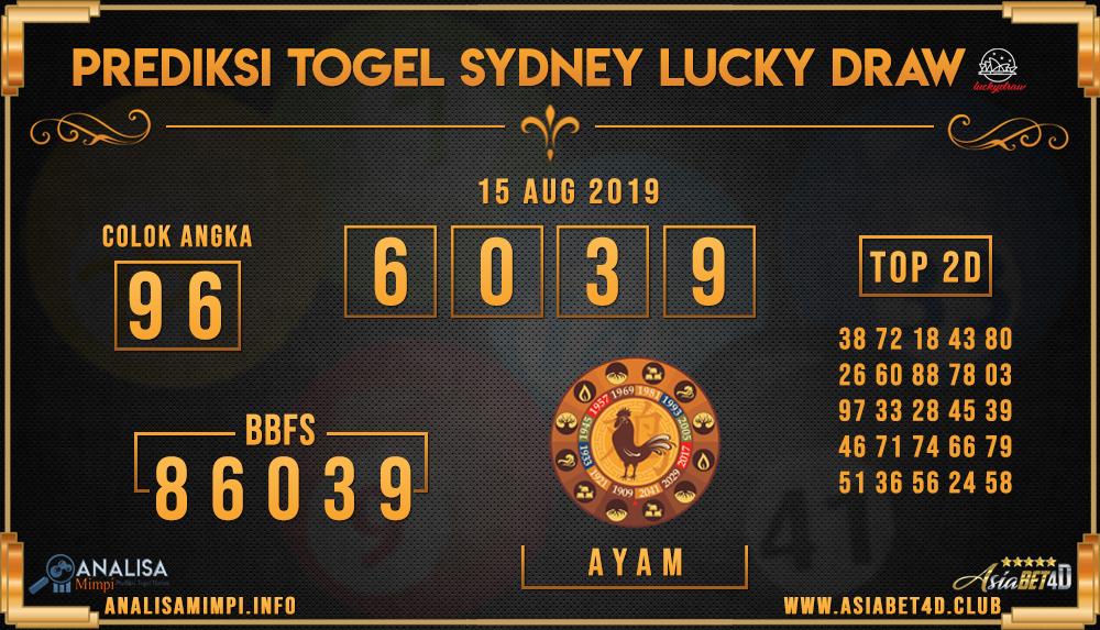 PREDIKSI TOGEL SYDNEY LUCKY DRAW 15 AUG 2019