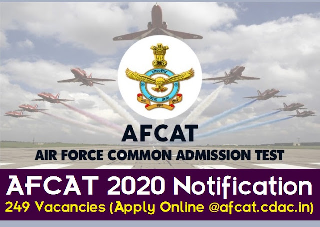 AFCAT 2020 Notification 249 Vacancies (Apply Online @afcat.cdac.in)