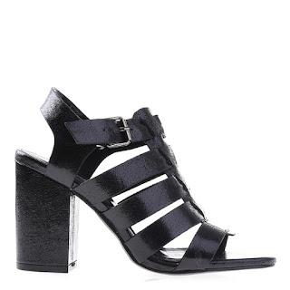 sandale de zi cu toc gros ieftine negre