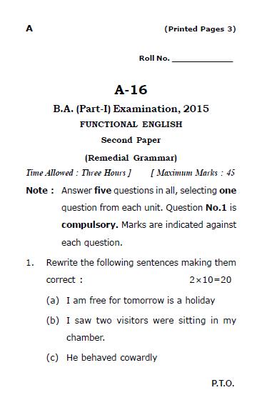 LU B A English (A16) Functional English Remedial Grammar