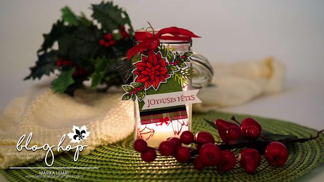 Photophore décoré avec les produits Stampin' up! pour le blog hop décoration