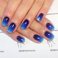 Ombre Shaded Blue Nail Art