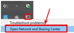 Open Network and Sharing Center.