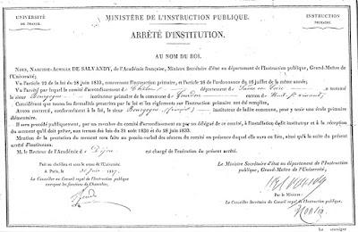 Arrêté Royal d'Institution de François Bourgogne, 30 juin 1837 (collection musée-copie AD71)