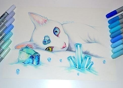 13-White-Cat-Lisa-Saukel-lighane-Cute-Colored-Fantasy-Animal-Drawings-www-designstack-co