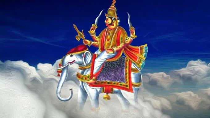 ஐராவதத்தில் (வெள்ளை யானை) இந்திர மஹாராஜா
