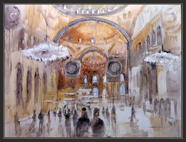 SANTA SOFIA-ESTAMBUL-PINTURA-HAGIA SOPHIA-MONUMENTOS-PERSONAJES-CUADROS-TURQUIA-ARTISTA-PINTOR-ERNEST DESCALS-