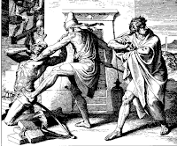 Moses sees one of his Hebrew brothers being beaten by an Egyptian, so Moisés mata the Egyptian and hides the body. Ex. 2: 11-12.