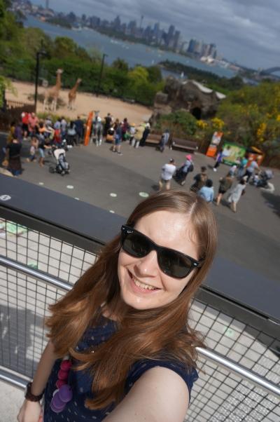 sydney with toddlers taronga zoo giraffe selfie and harbour bridge backdrop | awayfromblue