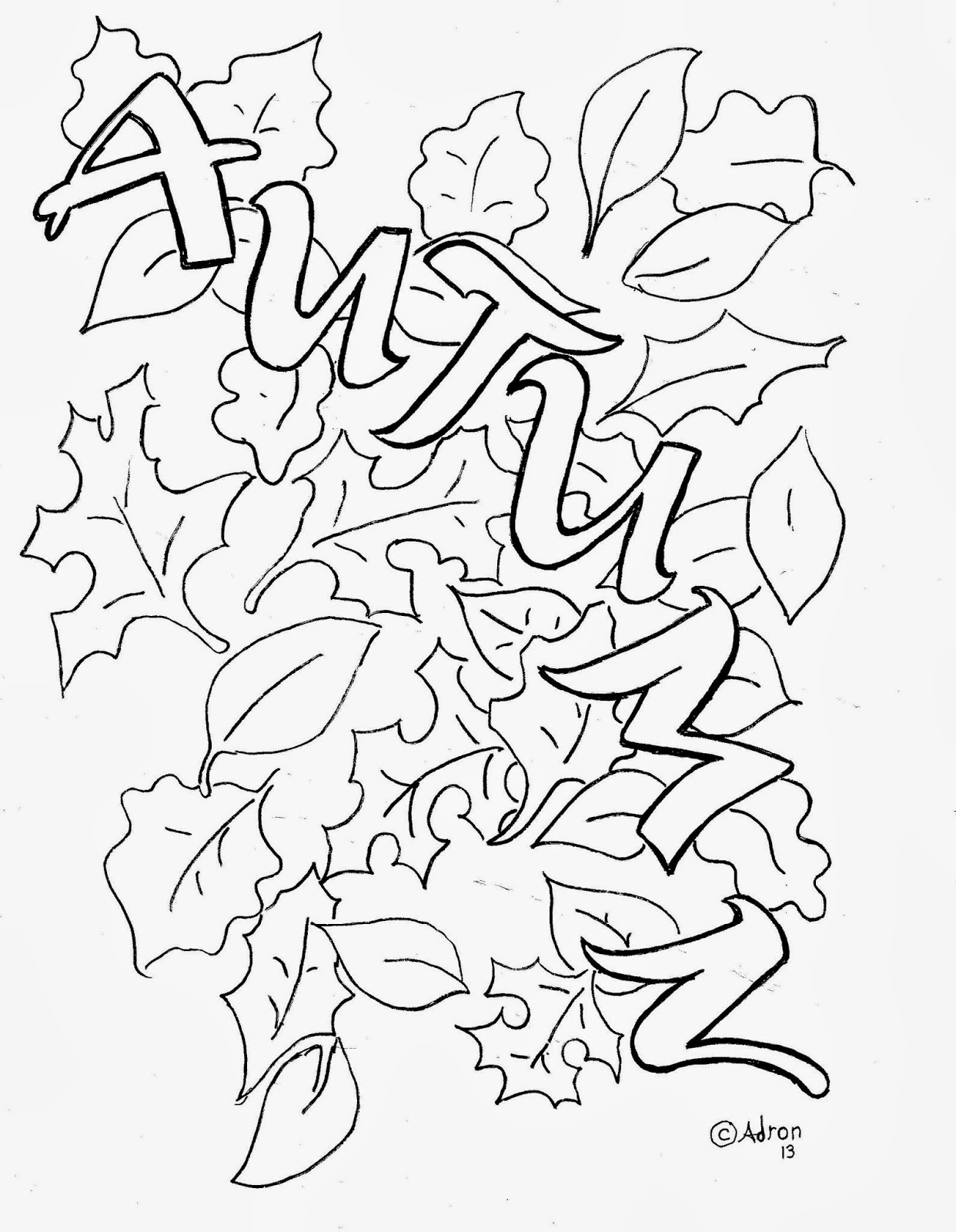 Coloring Pages for Kids by Mr. Adron: Autumn Leaves