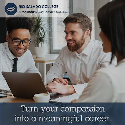 "Graphic shows 3 people sitting at a table looking at a laptop. Text reads,"" Turn your compassion into a meaningful career."""