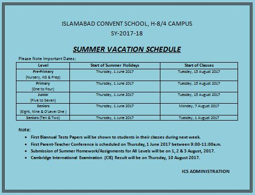 vacation schedule