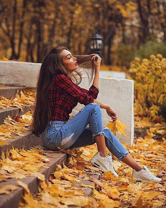 pose tumblr sentada otoño