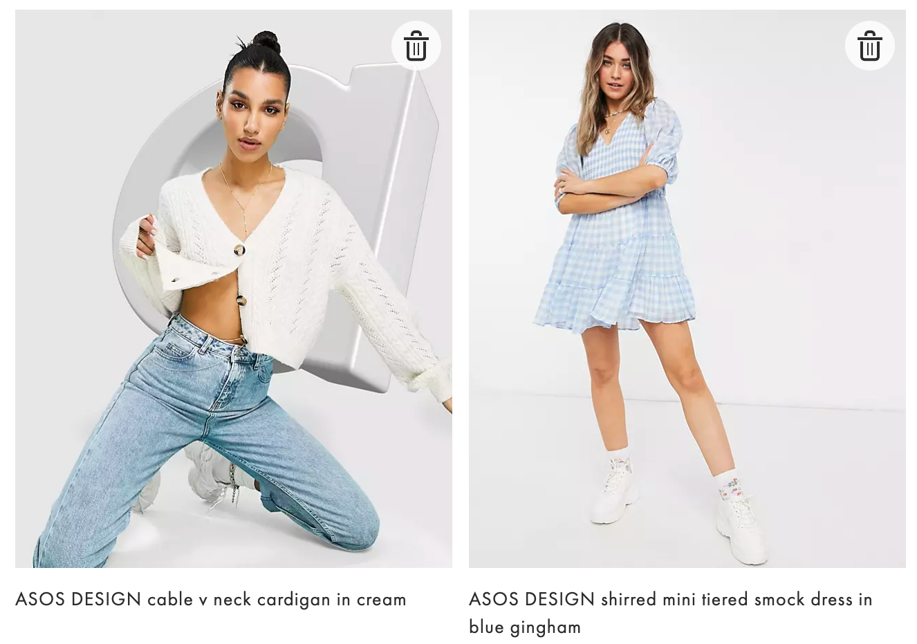ASOS DESIGN cable v neck cardigan in cream ASOS DESIGN shirred mini tiered smock dress in blue gingham