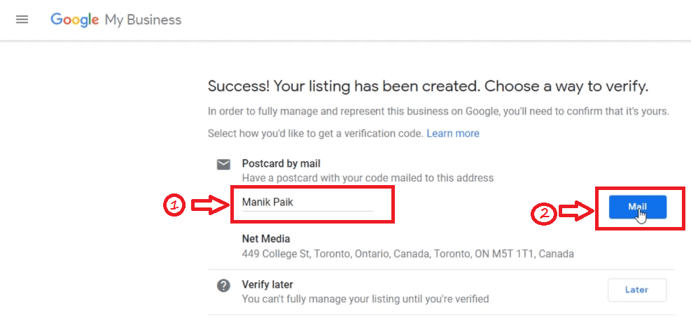 Enter Postal Card Details for activate Google My Business
