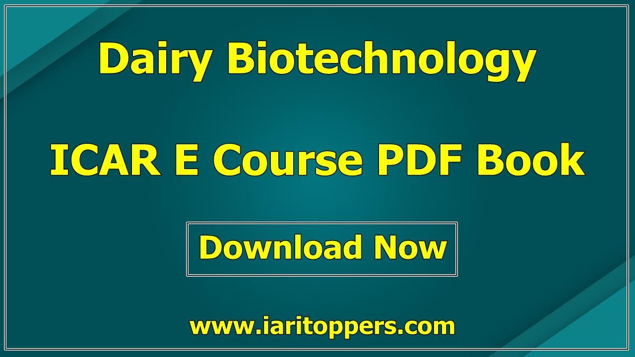 Dairy Biotechnology ICAR e course PDF Book Download E Krishi Shiksha