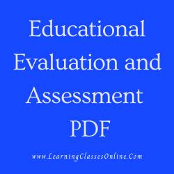 Educational Evaluation and Assessment PDF download free in English Medium Language for B.Ed and all courses students, college, universities, and teachers