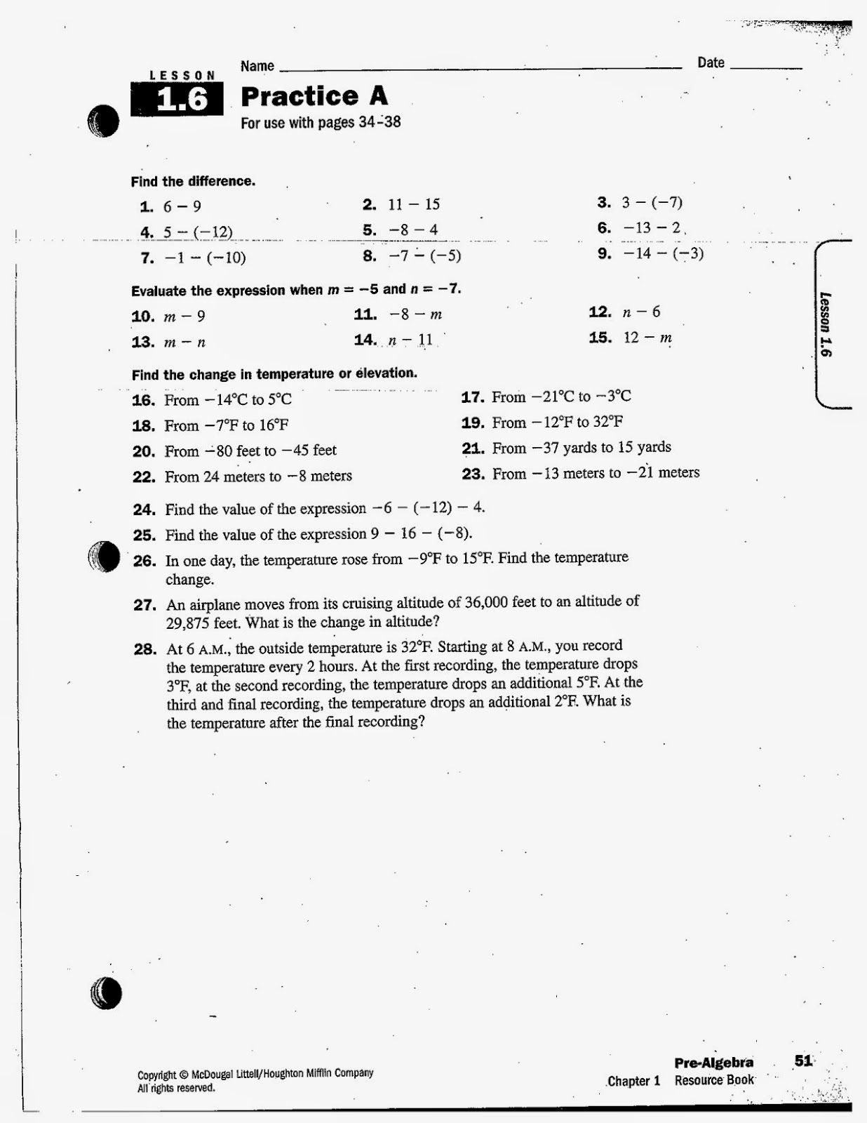 Subtraction Of Integers Worksheet