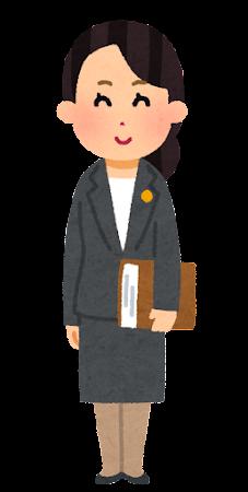 士業バッジをつけた人のイラスト(女性・眼鏡なし)