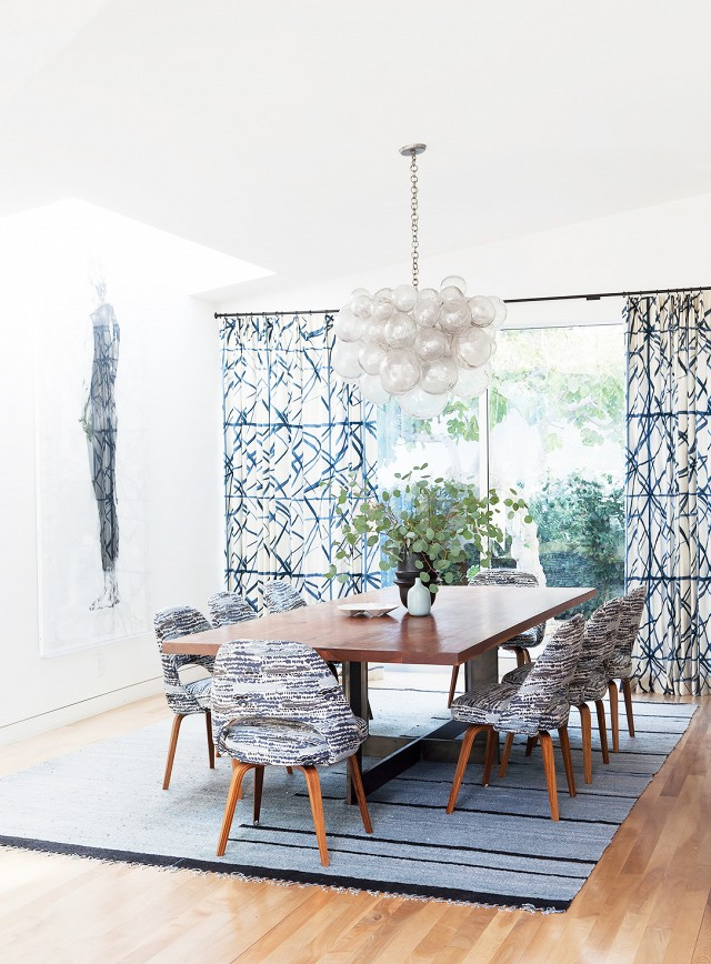 Earthy modern dining room in shades of blue and grey