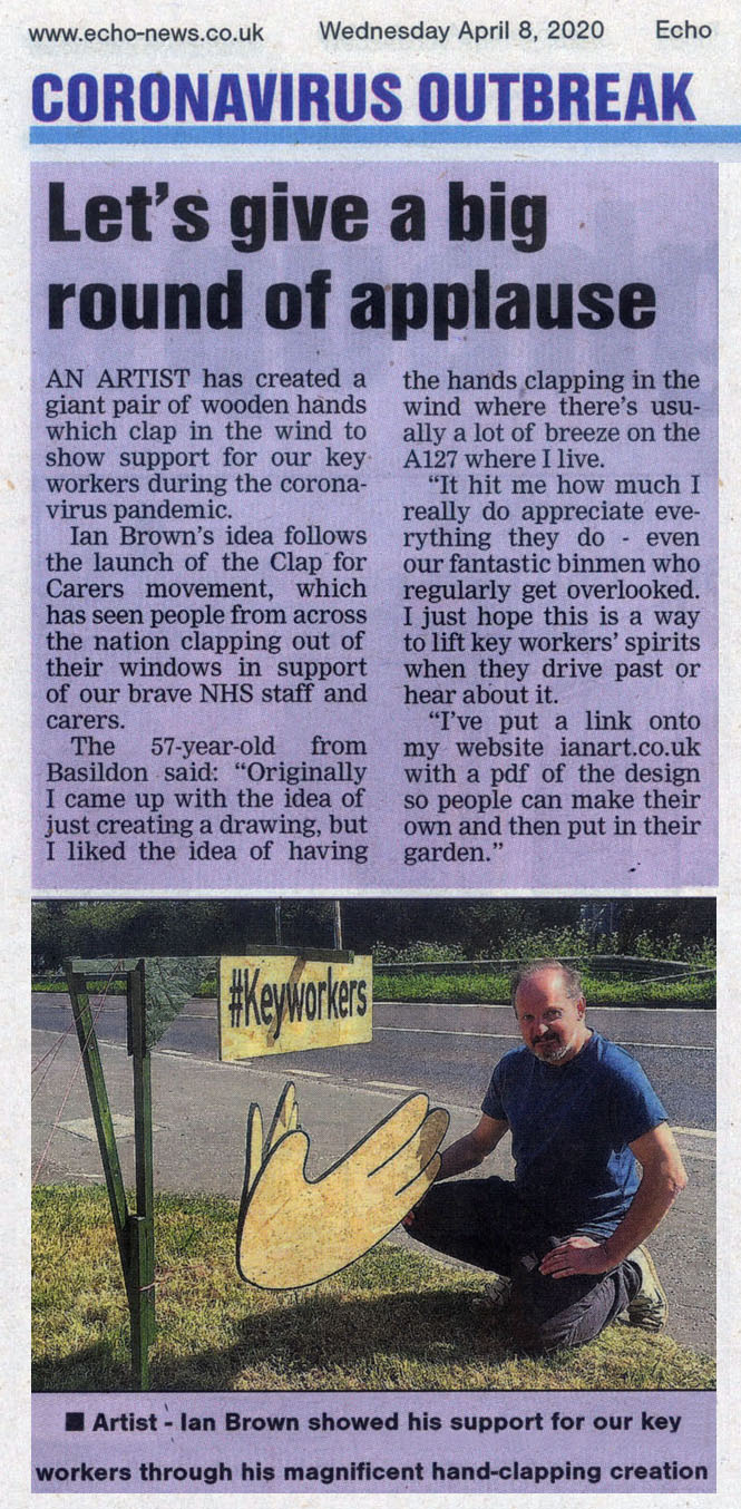 Clapping hands tribute to keyworkers Echo newspaper article