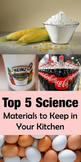 A compilation of five household ingredients in your kitchen that you can use for science experiments. You might have them already in your cabinets!