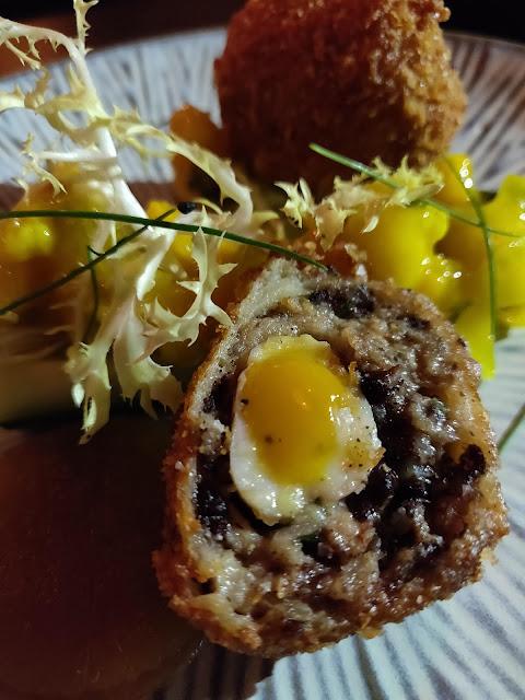 Black pudding and quail scotch egg Iron Bloom, Shoreditch