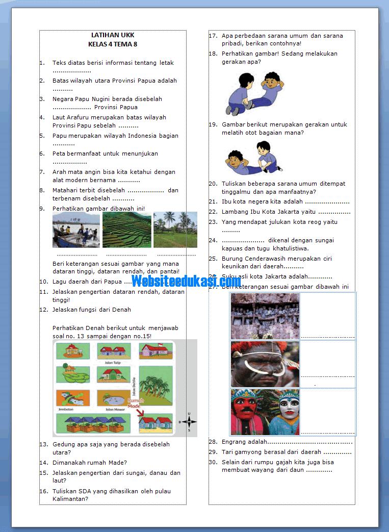 Soal Ulangan Tema 8 Kelas 4 : ulangan, kelas, Kelas, SD/MI, Semester, Revisi, Websiteedukasi.com