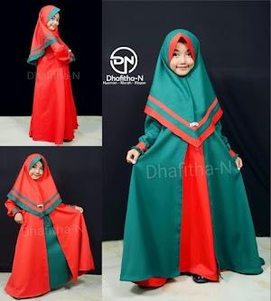 Gamis Anak Perempuan Dhafitha-N Awaliah | Merah-Hijau Botol