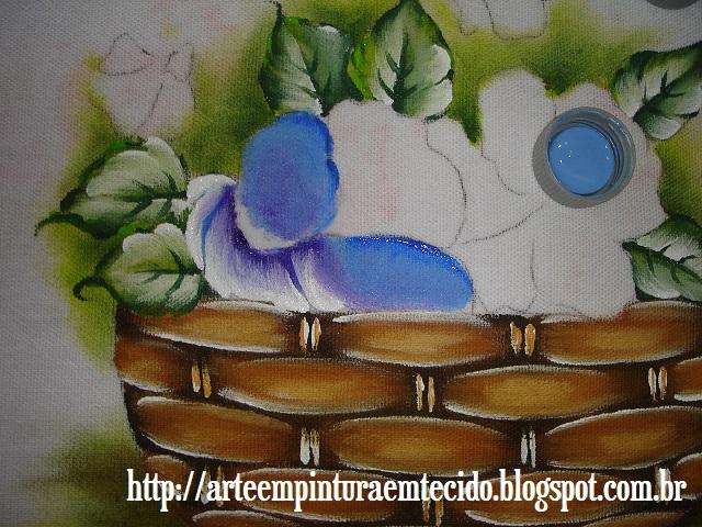 pintura em tecido cesta de flores como fazer