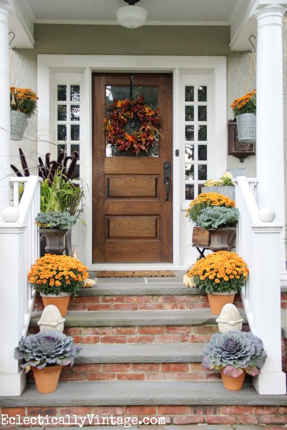 Rustic and neutral fall front porch