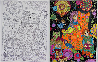 Creative cats before and after coloring page