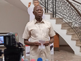 Armed Security Stops Protesters From Harassing Oshiomhole At Benin Airport