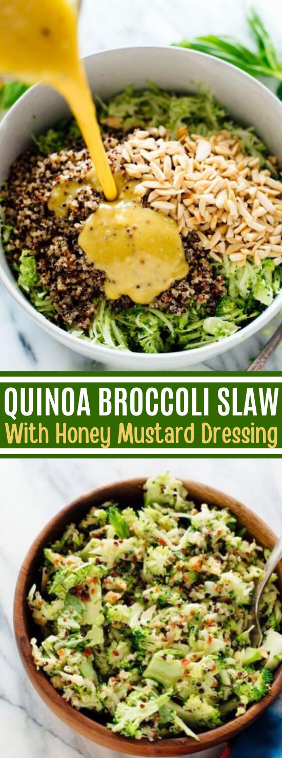 Quinoa Broccoli Slaw with Honey-Mustard Dressing #vegan #healthy #lunch #salad #glutenfree