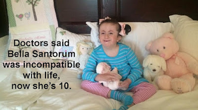 Doctors called her incompatible with life, but Bella Santorum just turned 10