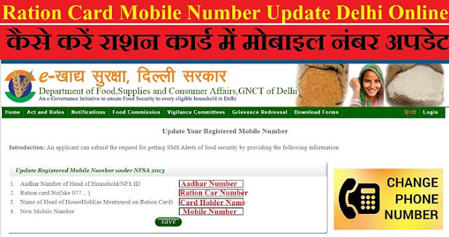 Ration Card Mobile Number Update Delhi | Ration Card Me Mobile Number Kaise Update Kare Online.