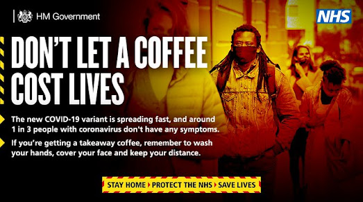 Dont let a coffee cost you your life UK Govt queue of people in masks and text