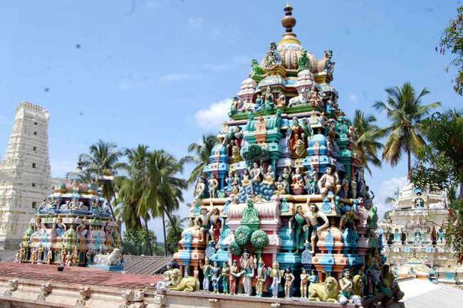 View Of Manneeswarar Temple Vimanams