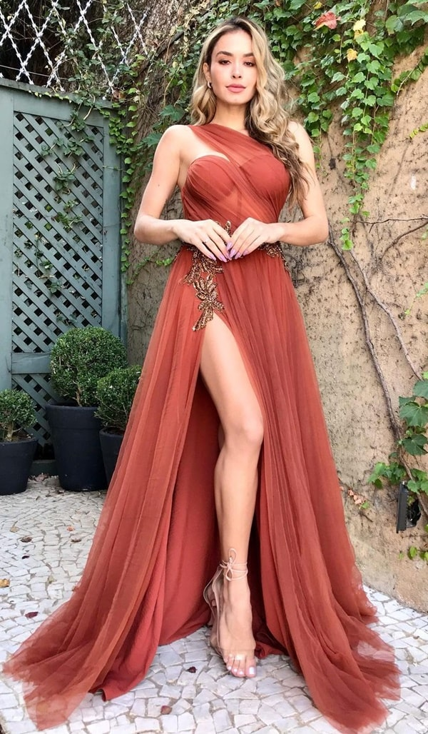 vestido de festa longo terracota