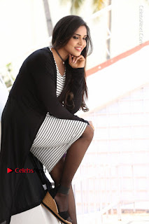 Telugu Actress Karunya Chowdary Stills in Black Dress at Soda Goli Soda Movie Opening  0080.JPG