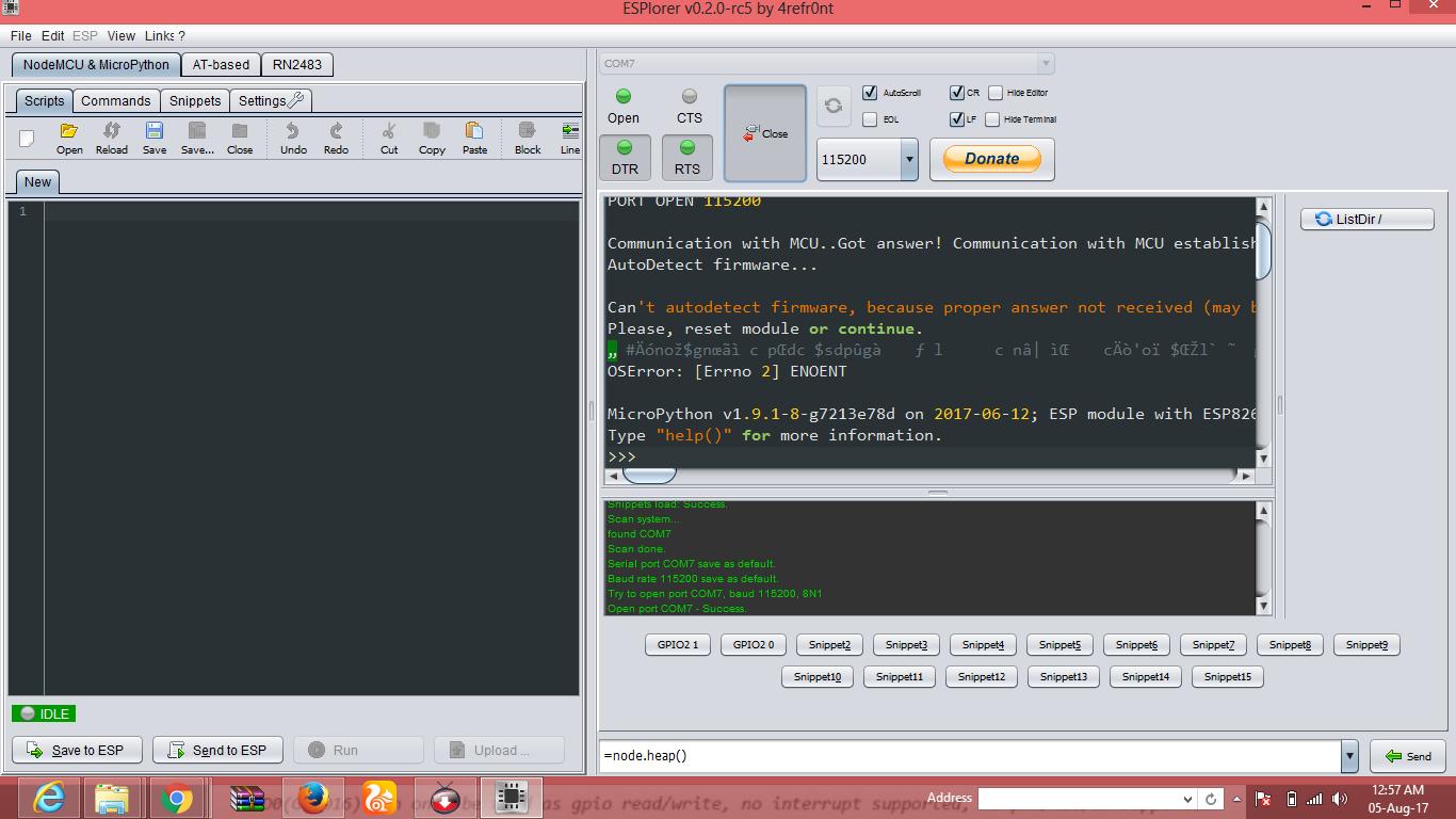 Programming NodeMcu 12-E through WEB-REPL Protocol using Micro-python