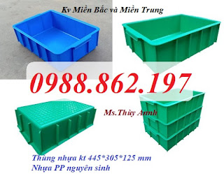 Thùng nhựa đặc,Thùng nhựa YM003,thùng nhựa đặc kích thước 455 x 305 x 125mm
