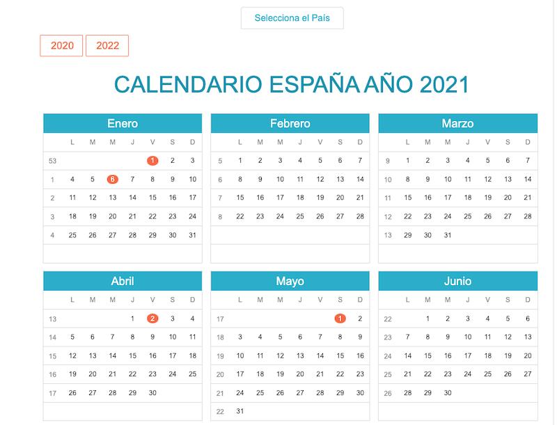 Calendario para imprimir 21 para hispanohablantes