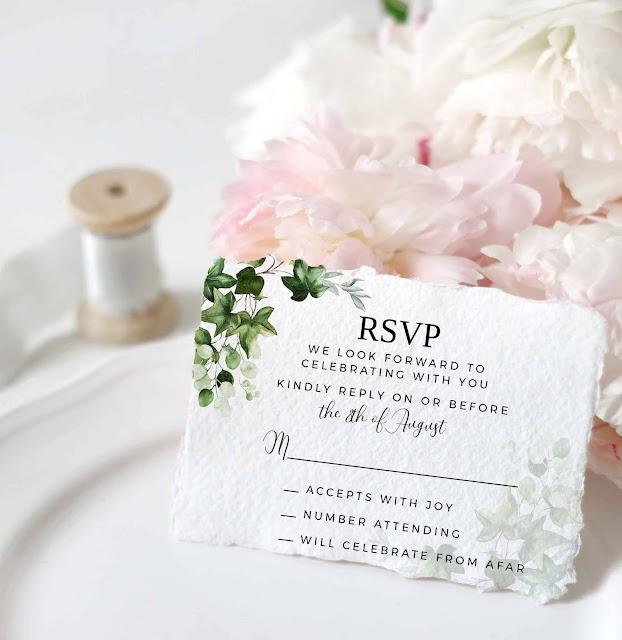ivy greenery wedding reply card