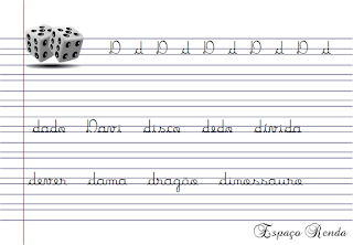 caderno de caligrafia letra D