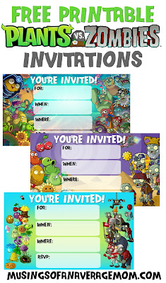 Plants vs Zombies free party printables