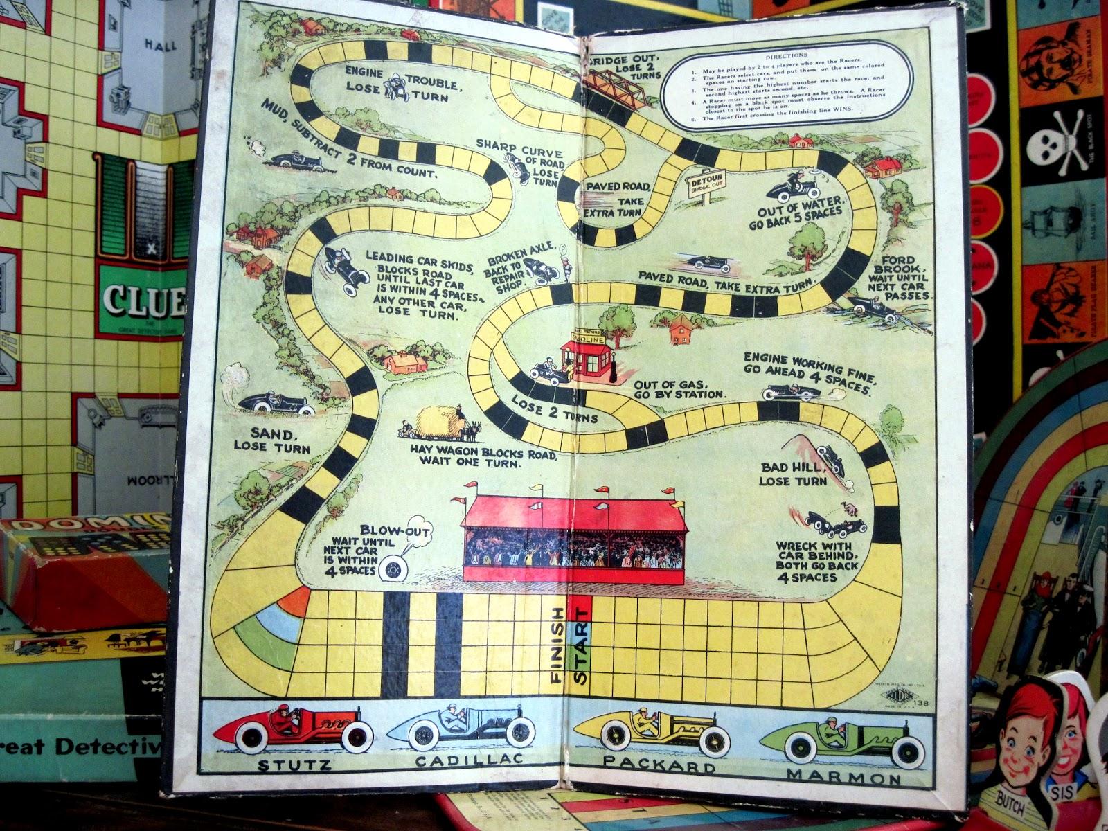 Board Game Car Race Antique